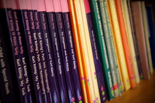 A row of books featuring Karl Konig.